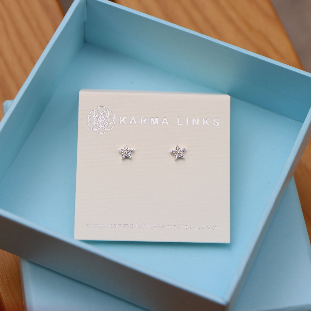 Silver sparkling star stud earrings I Karma Links Jewellery