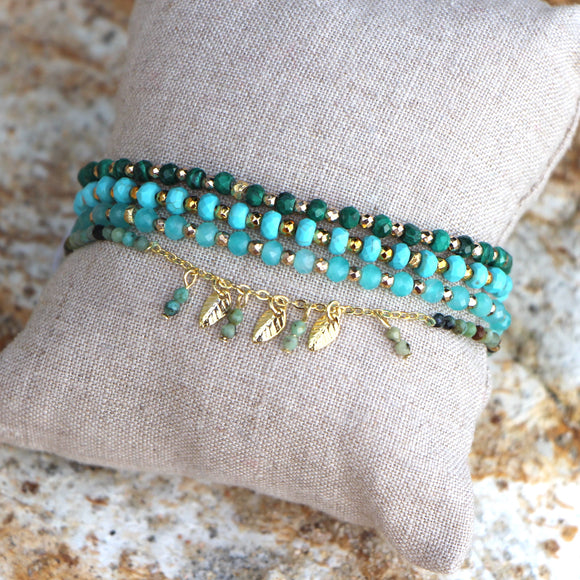 amazonite and gold nuggets bracelet