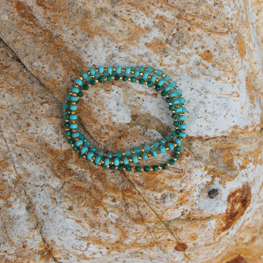 green and gold nuggets bracelet