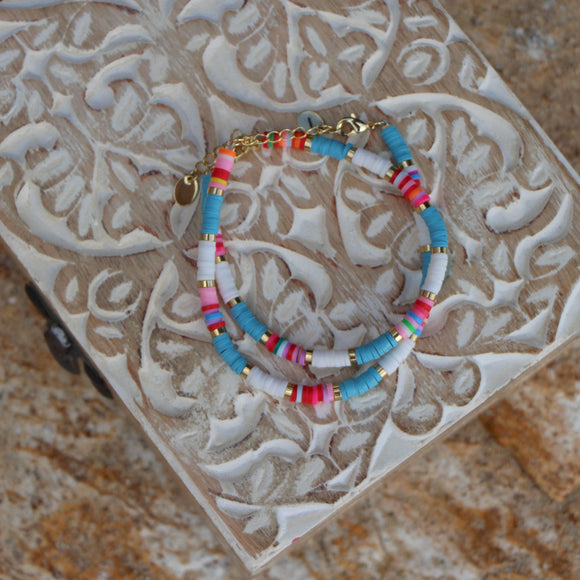 blue boho multi-colour bracelet