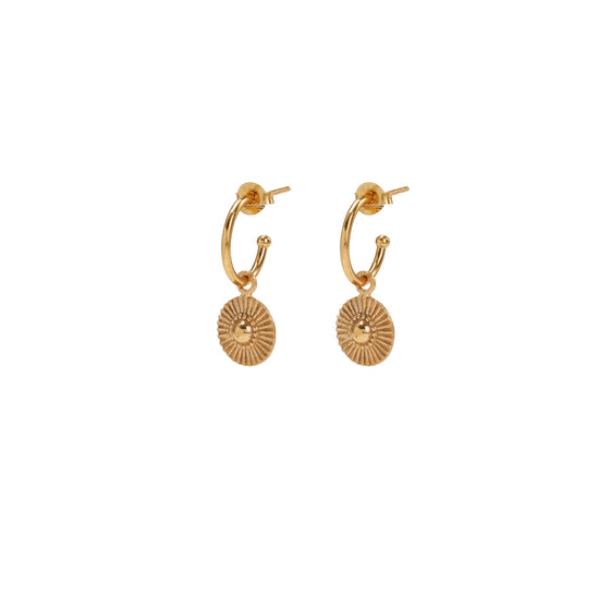 gold soleil huggie earrings