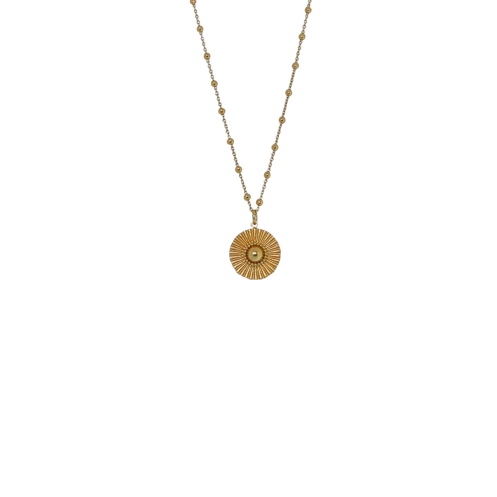 long gold soleil ball chain necklace