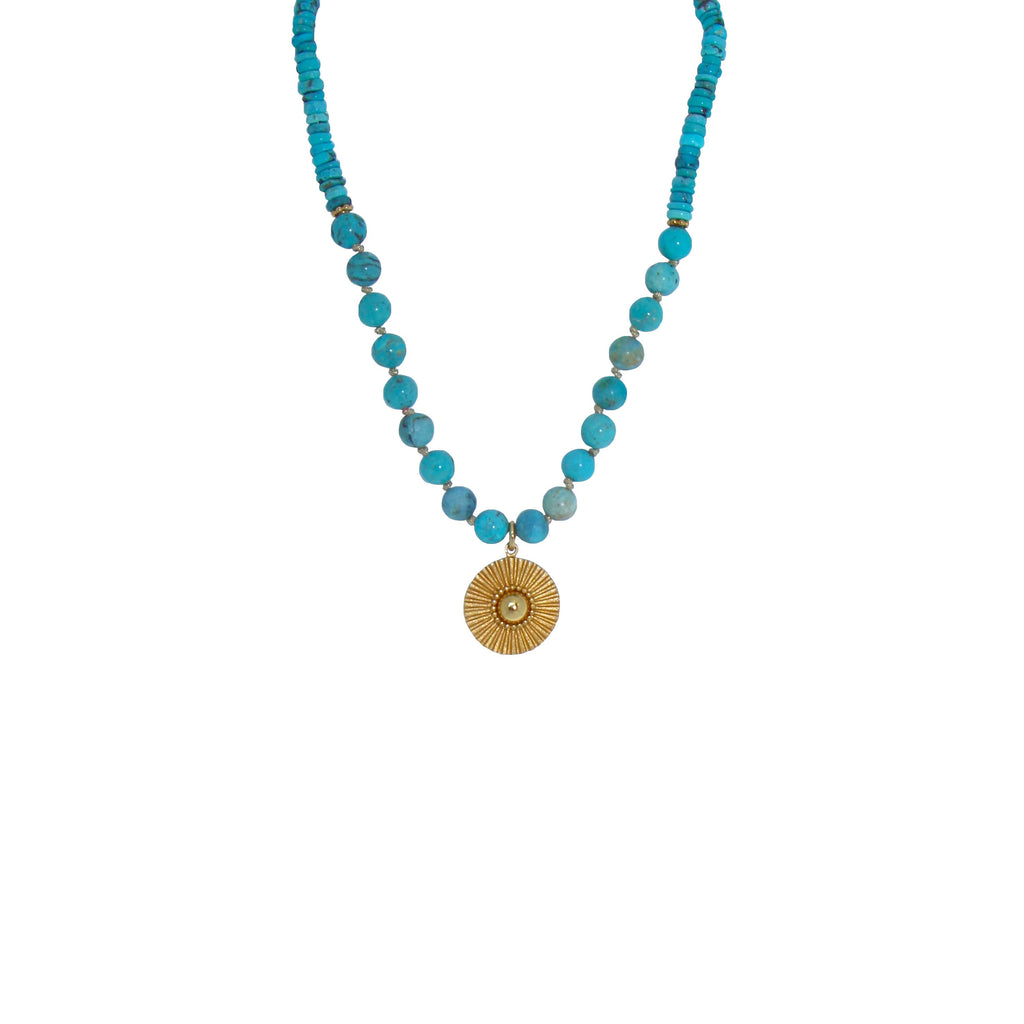 gold and blue soleil beaded necklace