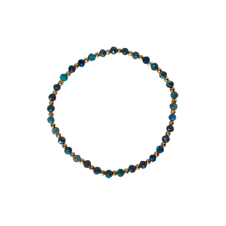 Turquoise colour and gold nugget bracelet