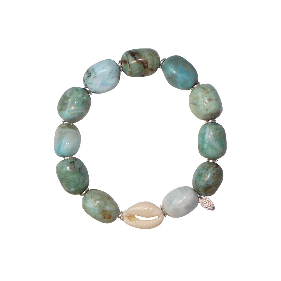 blue cowrie shell gemstone bracelet
