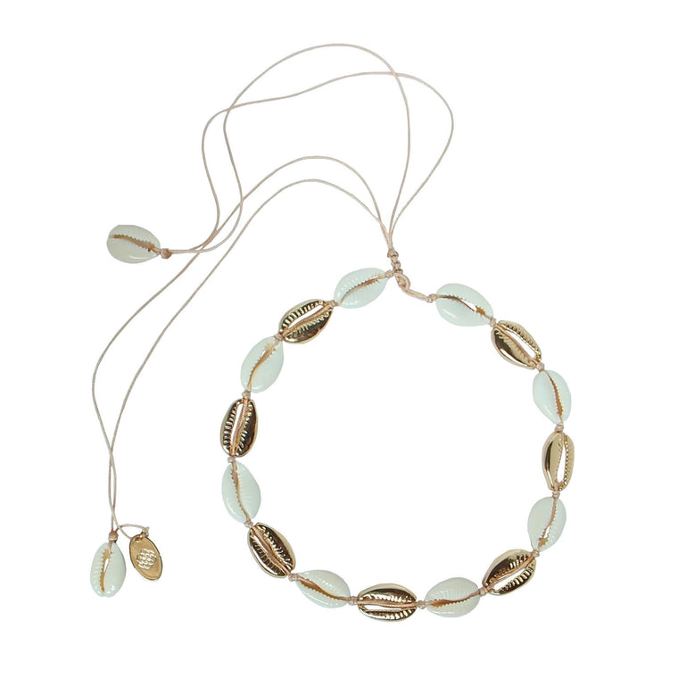 Cowrie shell cord necklace by Karma Links Jewellery