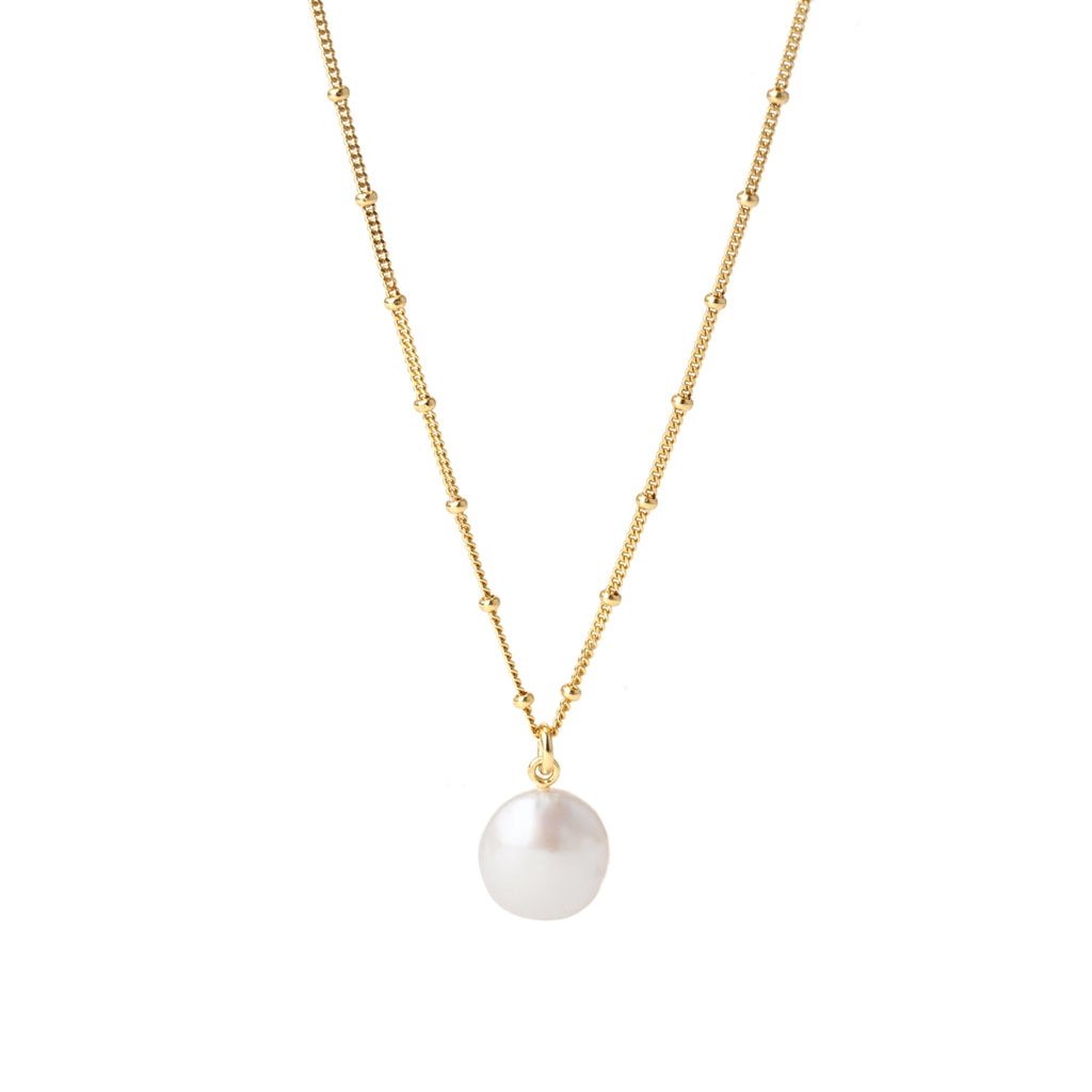 coin pearl charm ball chain necklace