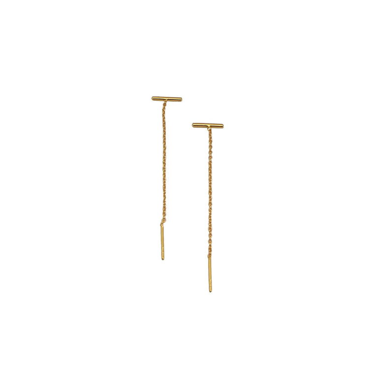 gold bar thread thru earrings