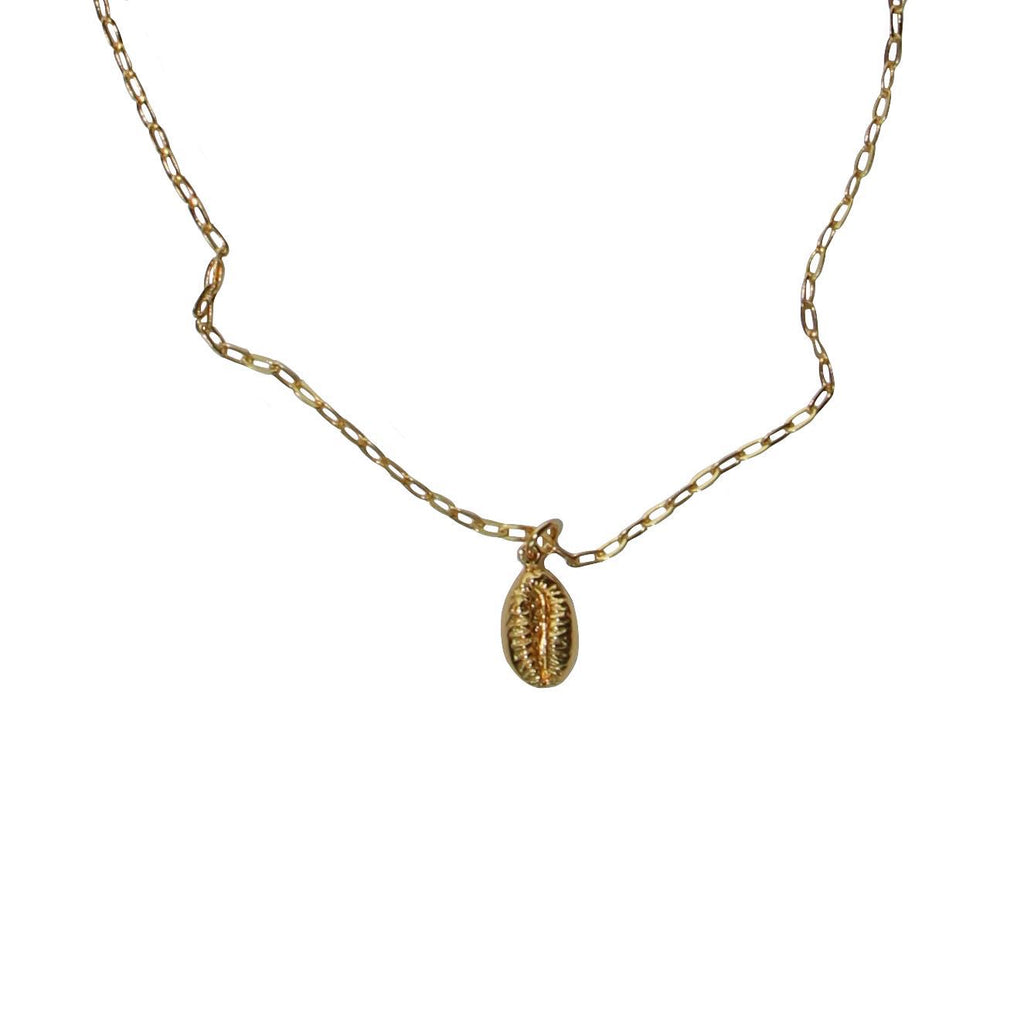 gold cowrie shell links chain necklace