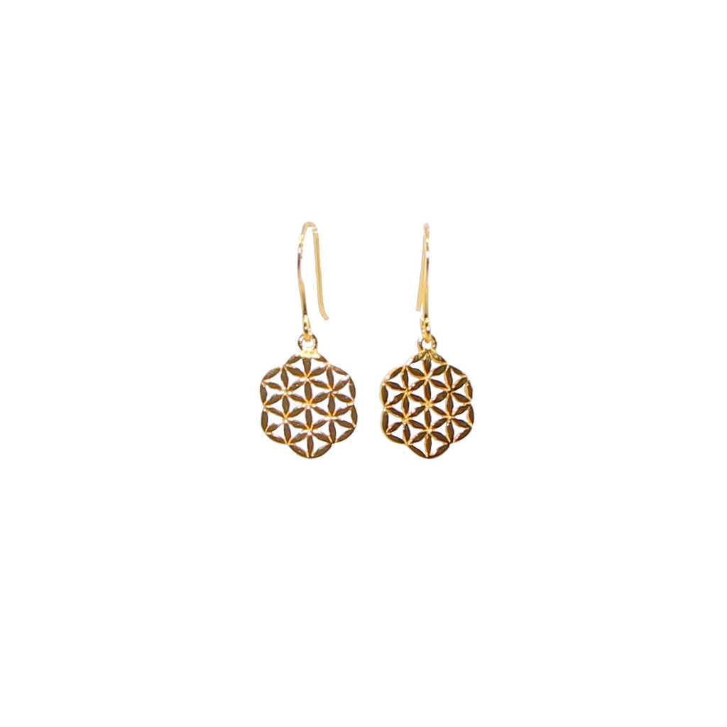 gold flower of life dangling earrings