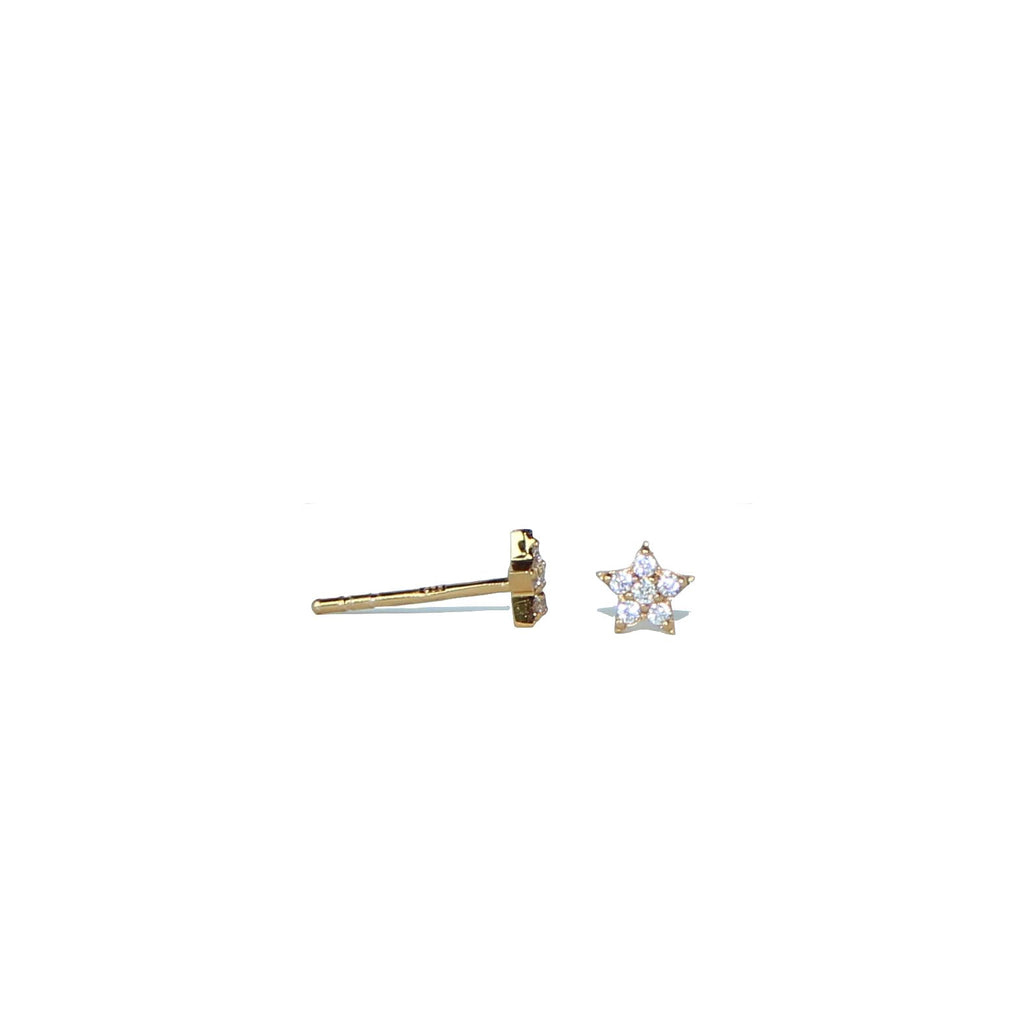 gold sparkling star stud earrings