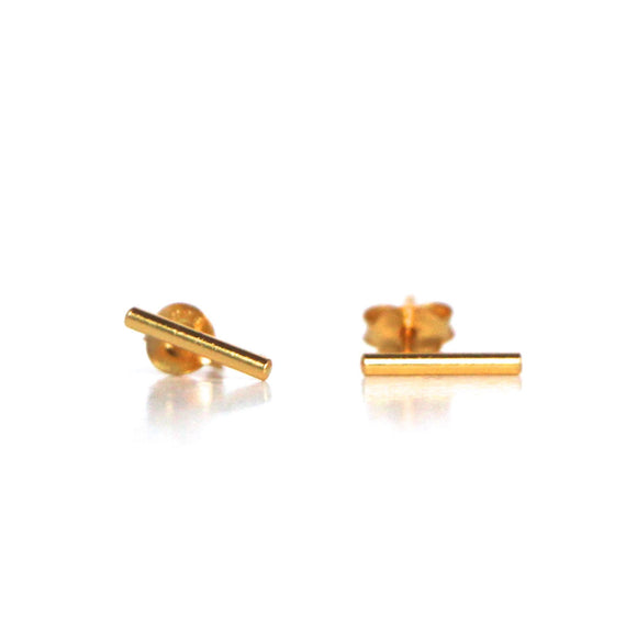 delicate gold bar stud earrings