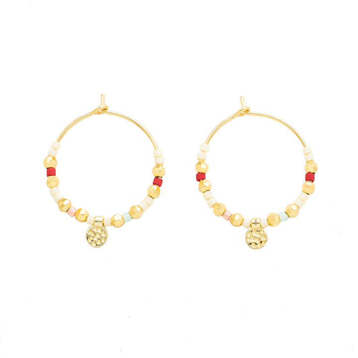 gold beaded hoop earrings