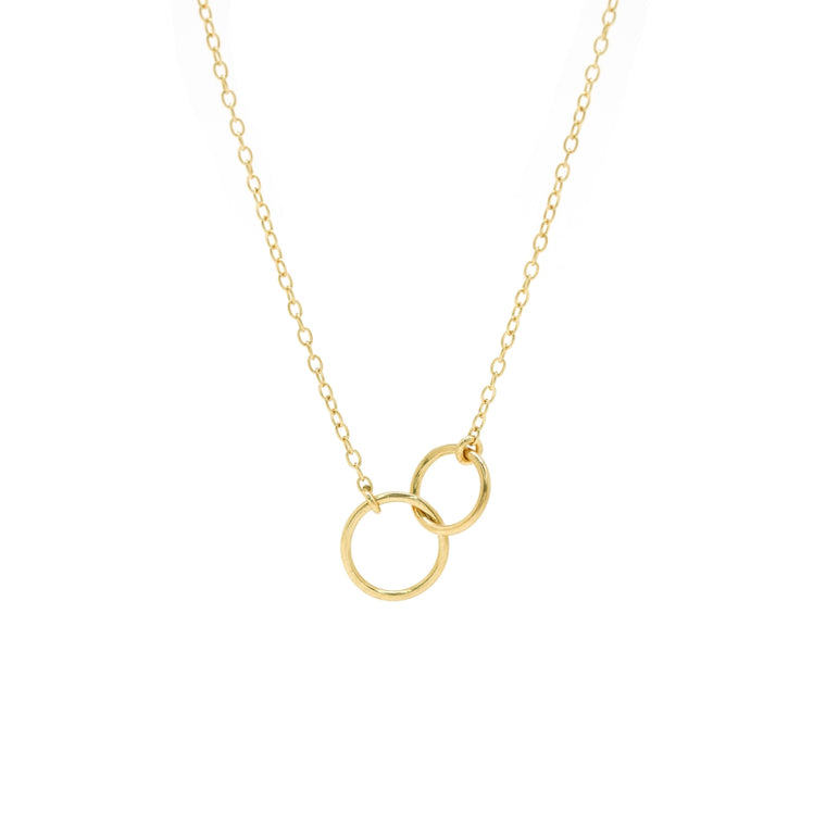 double ring necklace in gold