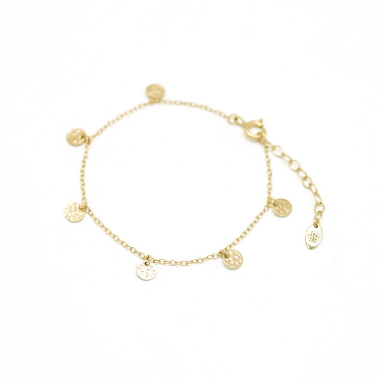 gold hammered disc chain bracelet