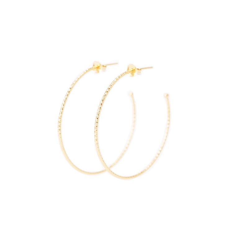 gold hammered medium hoop earrings