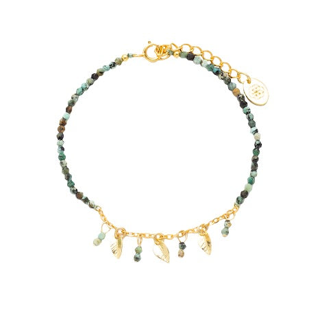 gold leaf gemstone beaded bracelet