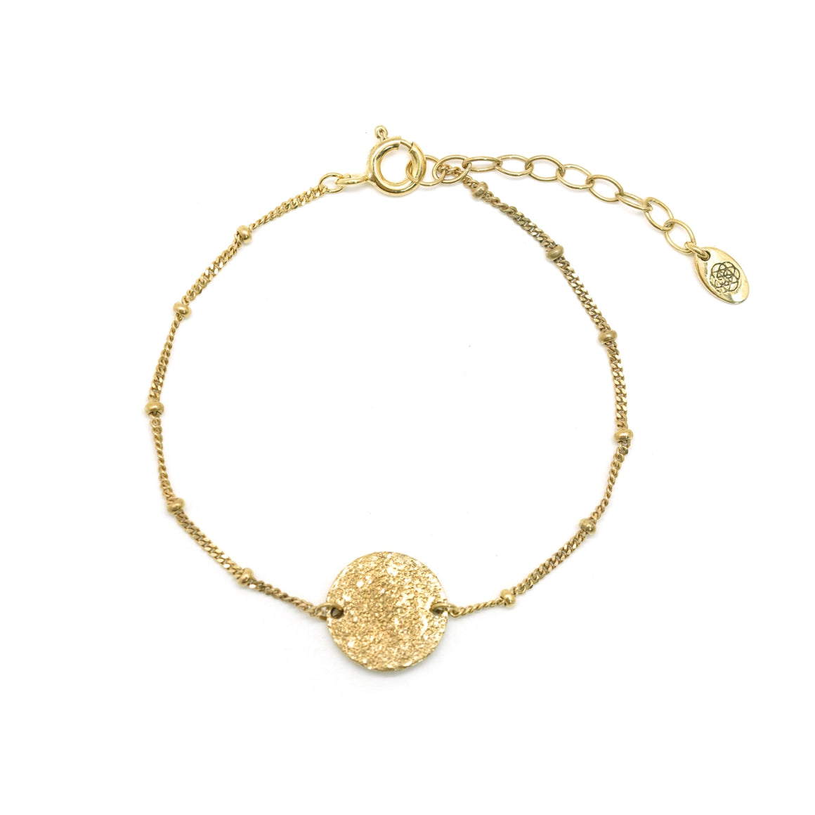 gold hammered disc ball chain bracelet