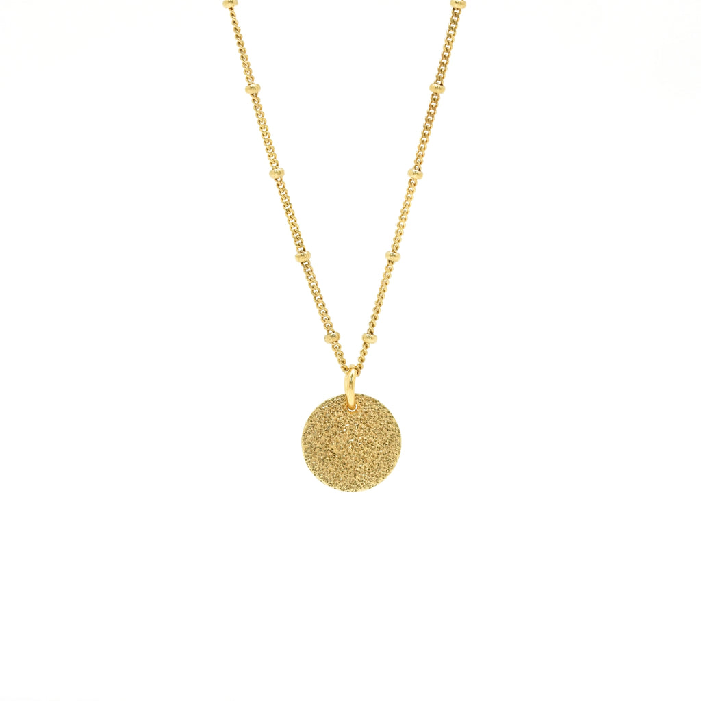 gold hammered charm ball chain necklace
