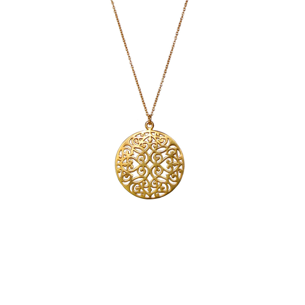 Long gold dipped filigree necklace by Karma Links Jewellery