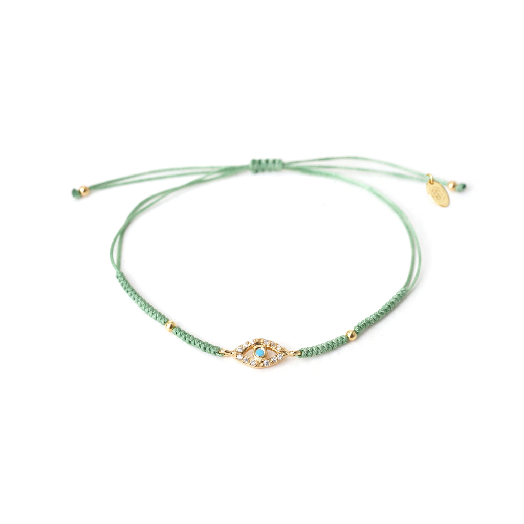 evil eye green friendship bracelet
