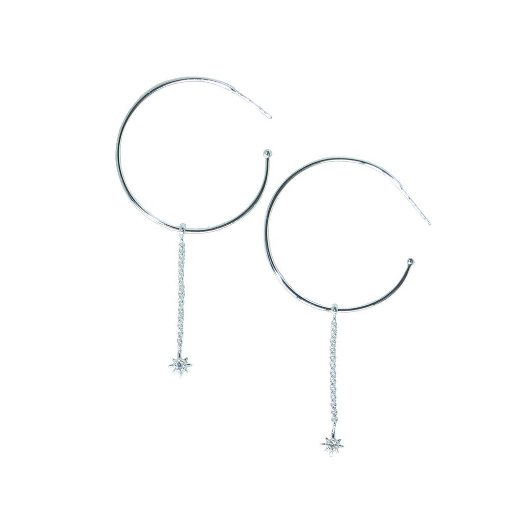 starburst hoops in silver