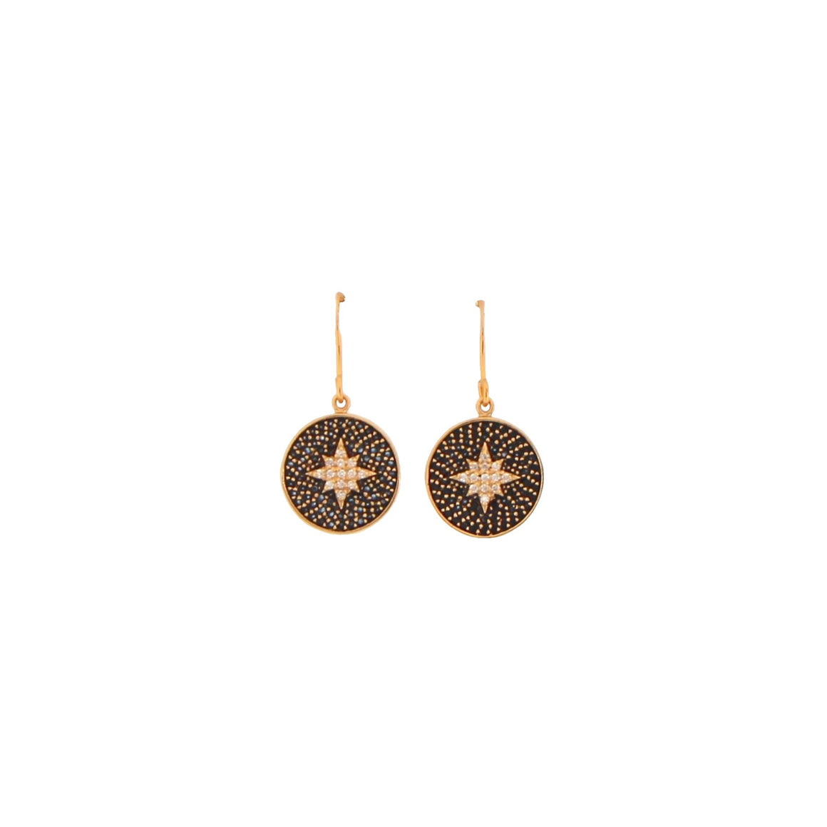 gold guiding star drop earrings