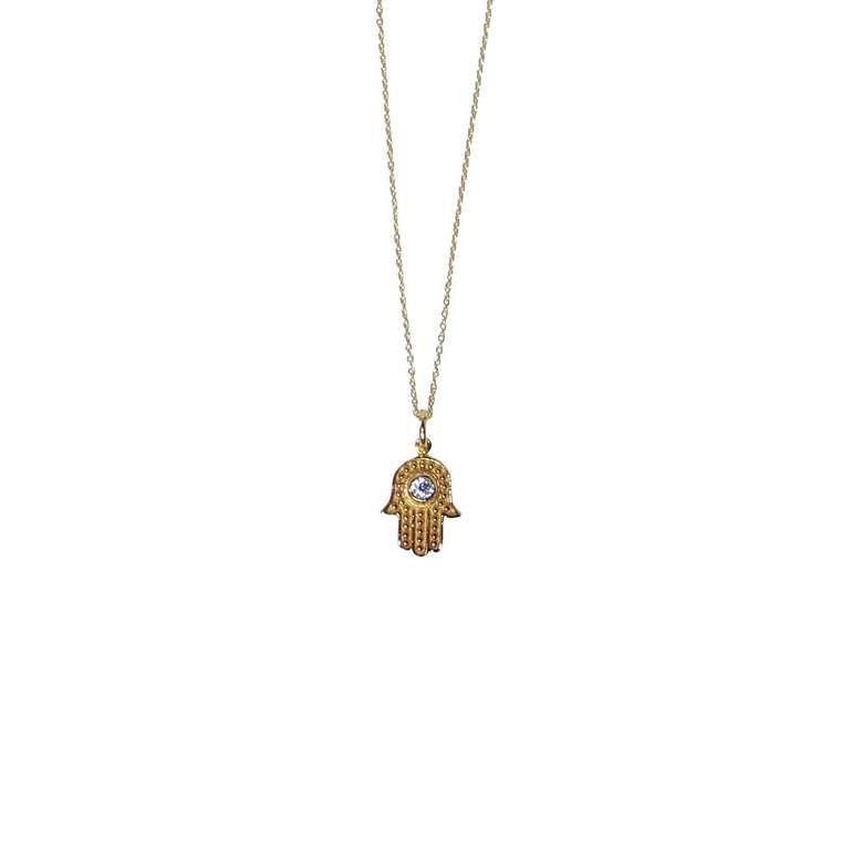 Hamsa hand sparkle necklace in gold by Karma Links Jewellery