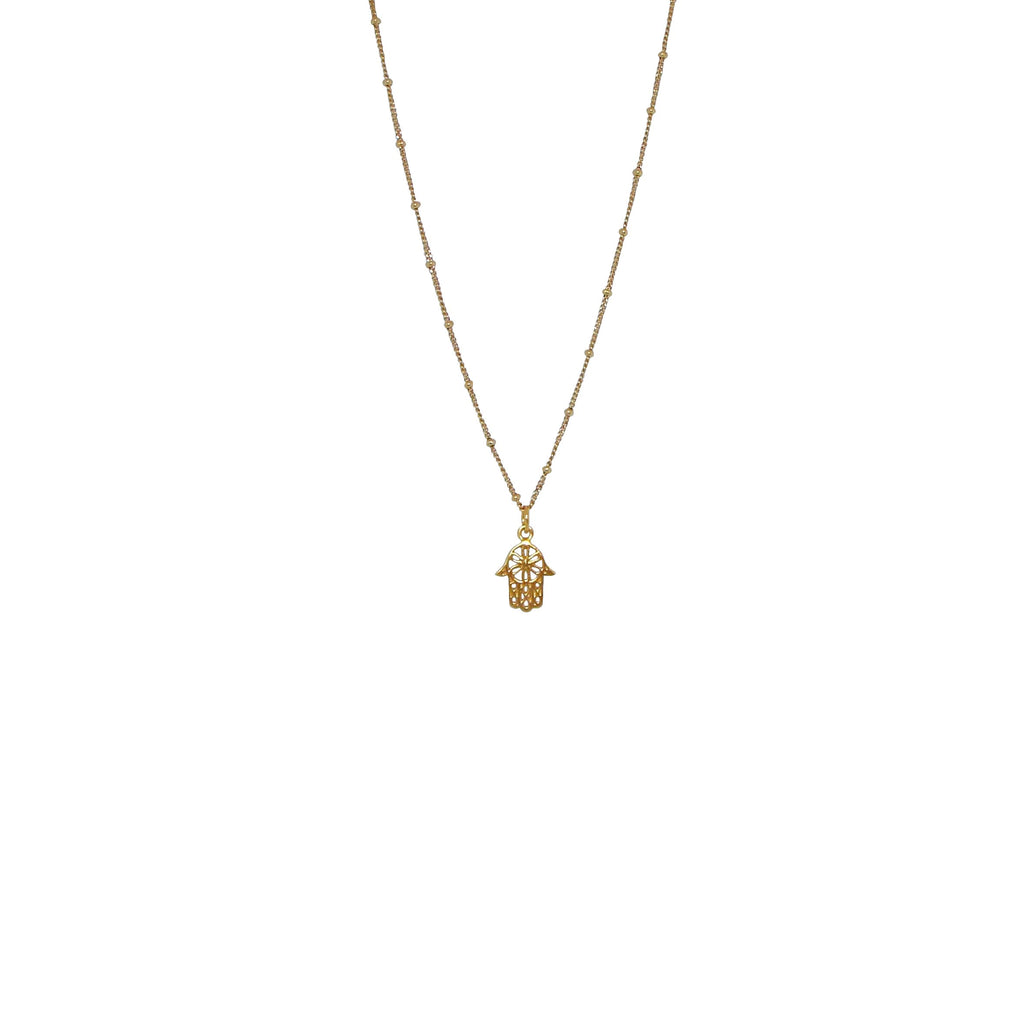hamsa hand ball chain necklace gold