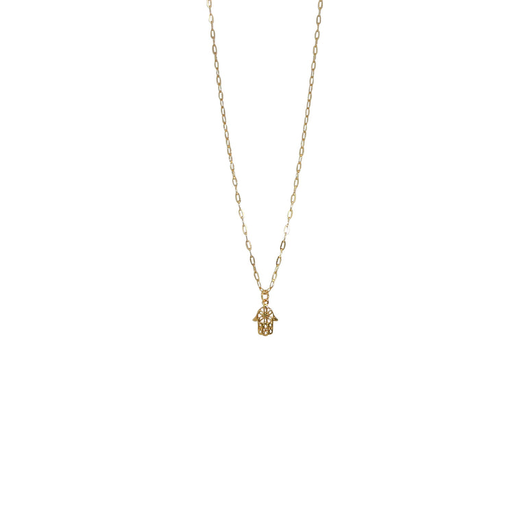 links chain hamsa hand necklace
