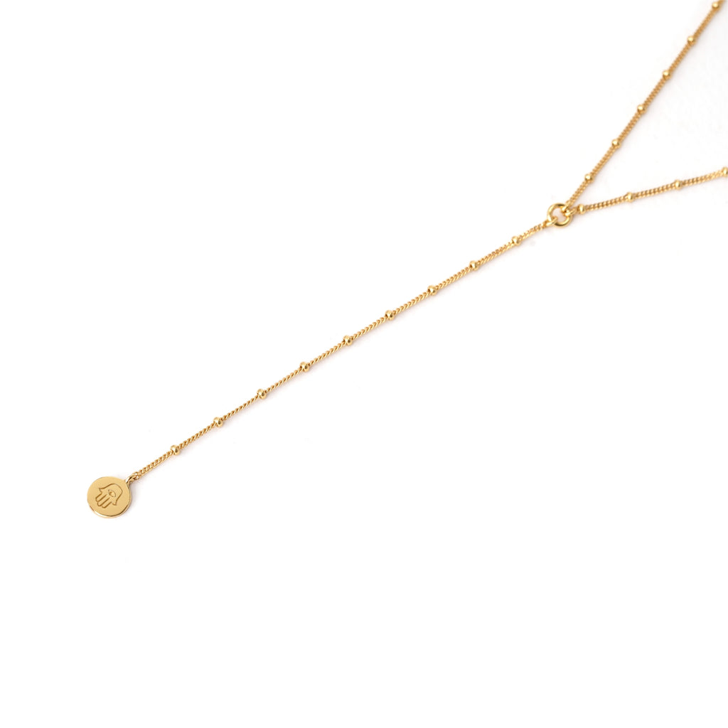 gold hamsa hand lariat necklace