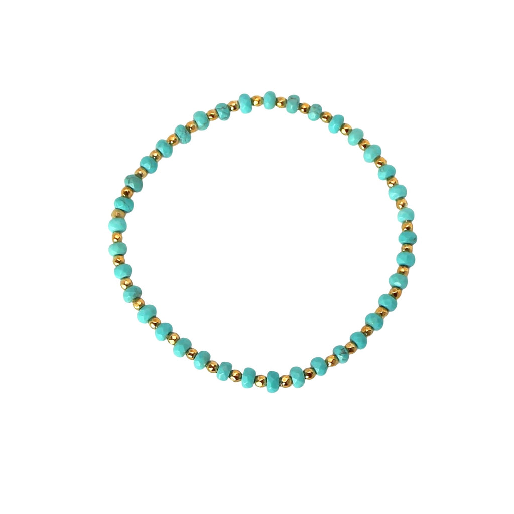 turquoise blue and gold nugget bracelet