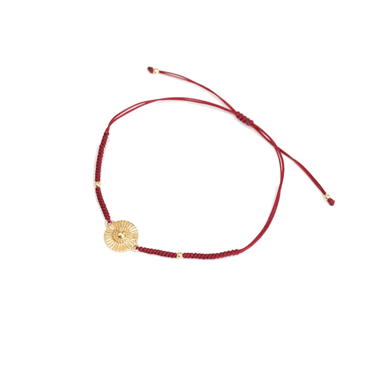 gold sun deep red friendship bracelet