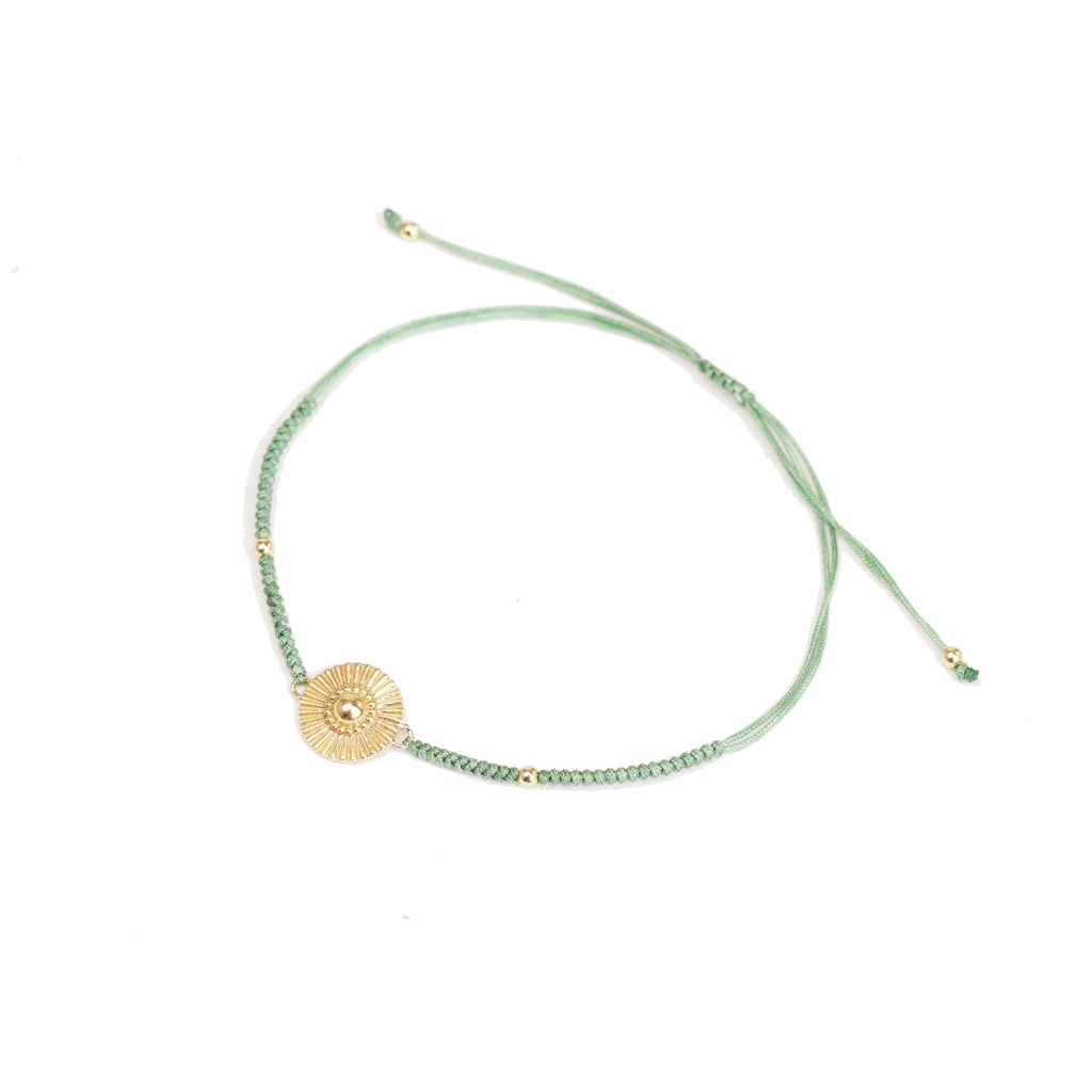 gold sun green friendship bracelet