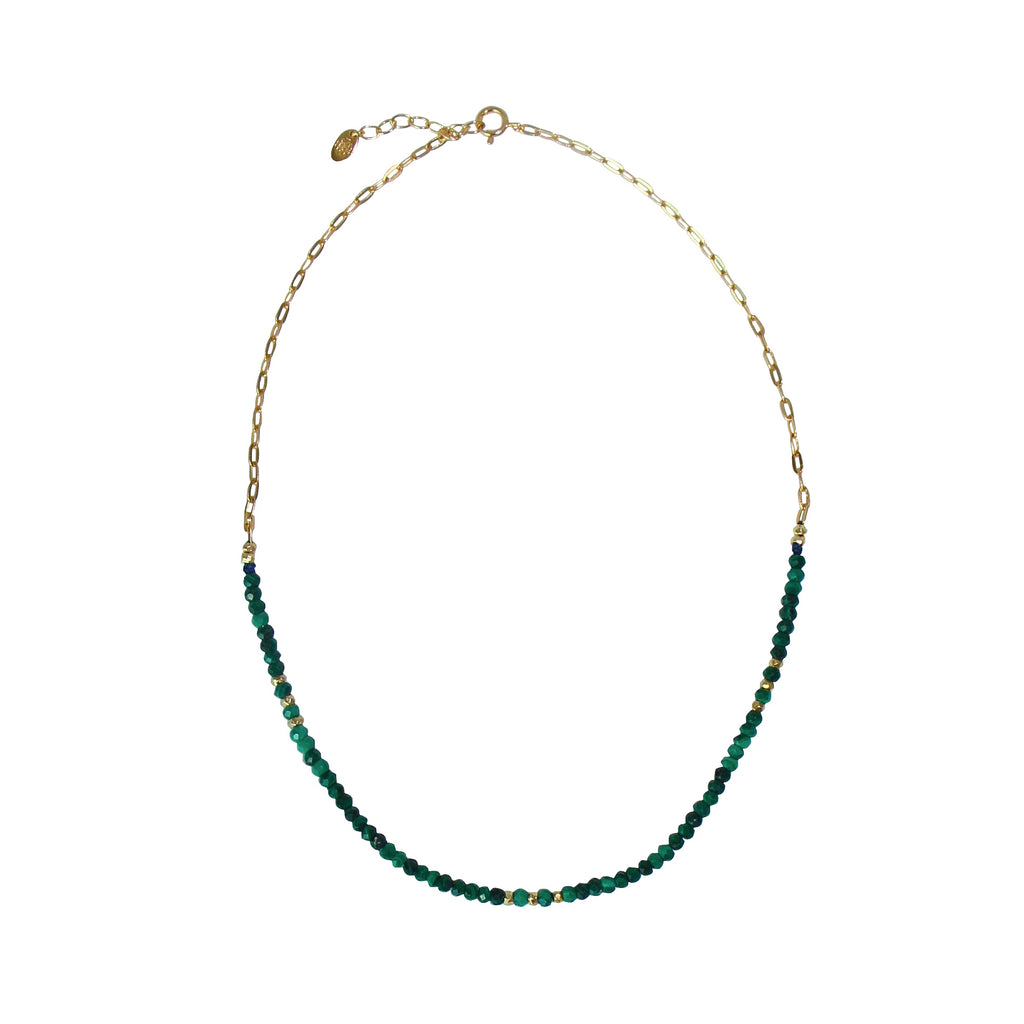 malachite links chain choker necklace