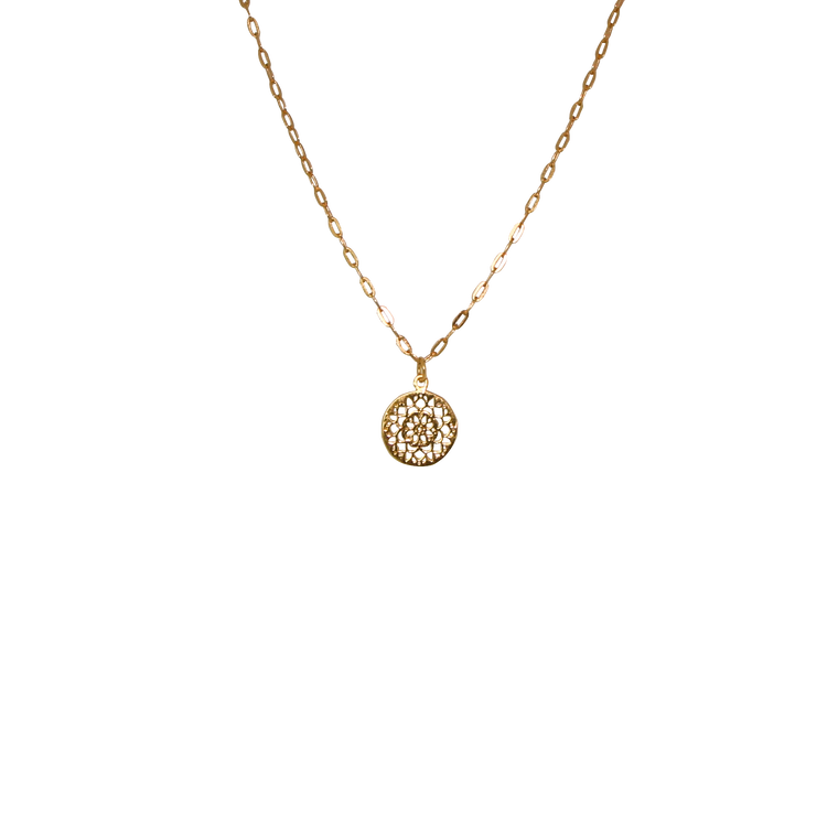 gold mandala links chain necklace