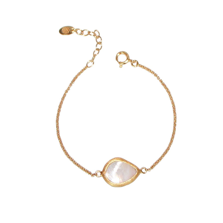 gold mother of pearl teardrop bracelet