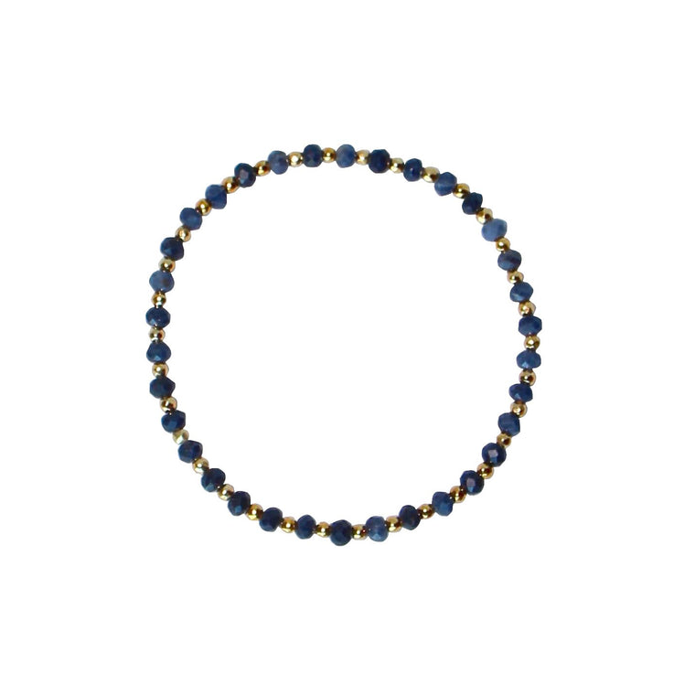 Blue and gold gemstone nugget bracelet
