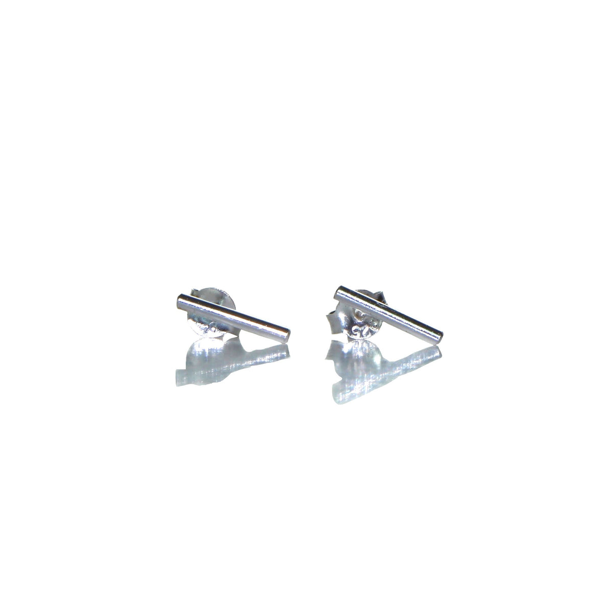 delicate silver bar stud earrings
