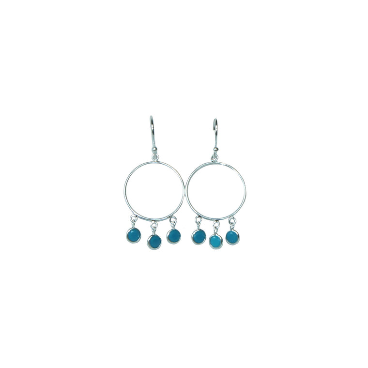 blue bohemian hoop earrings in silver by Karma Links Jewellery