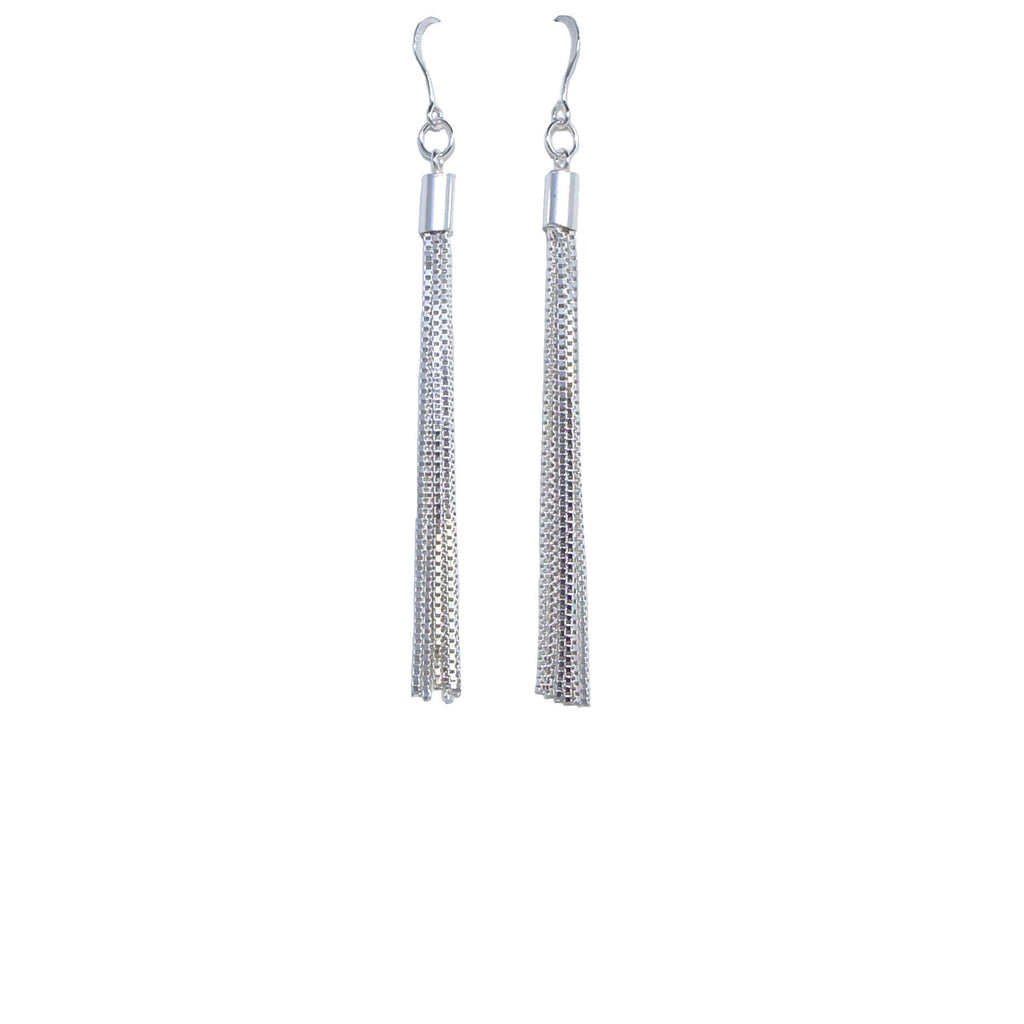 elegant long silver chain tassel earrings