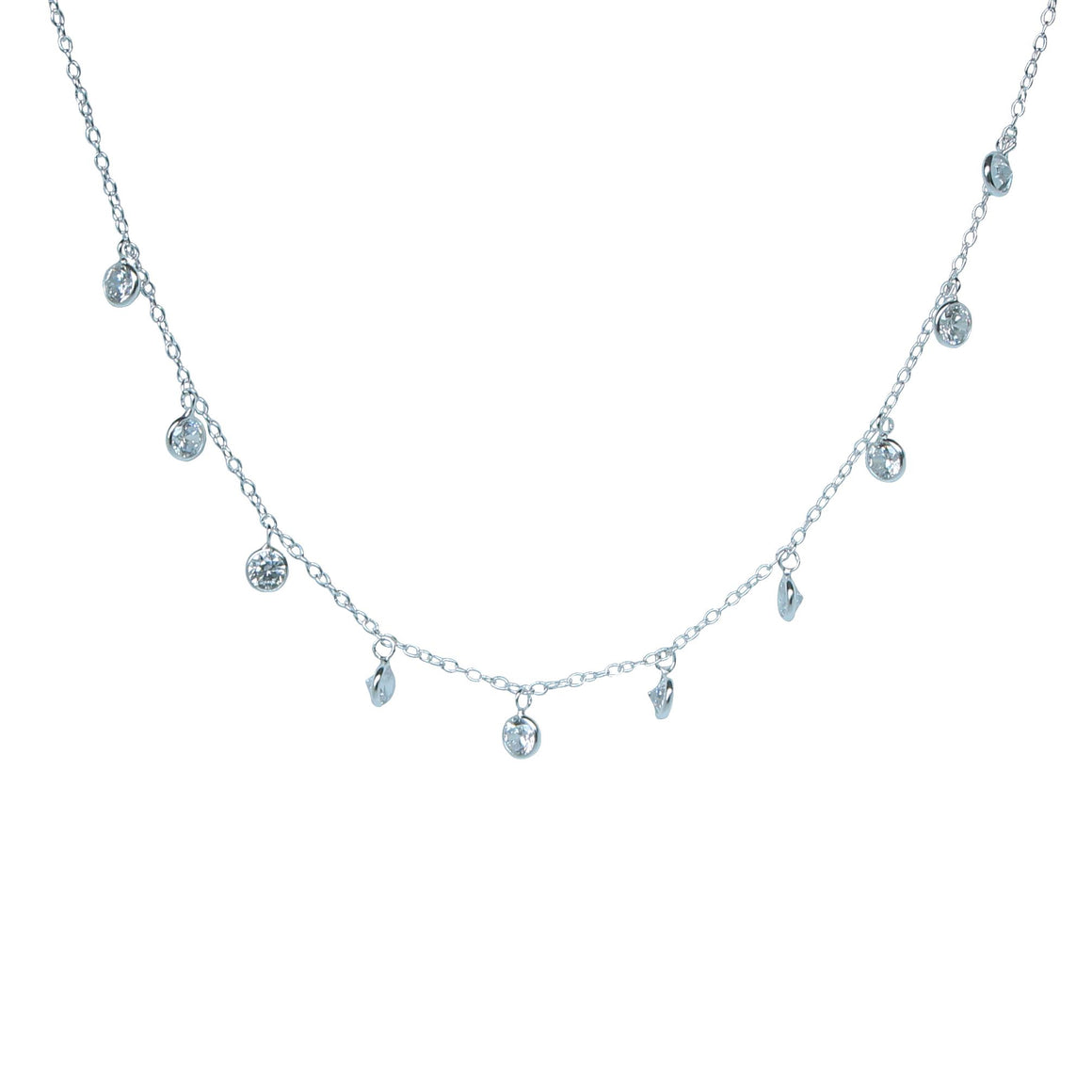 diamond sparkle charm choker necklace in silver by Karma Links Jewellery