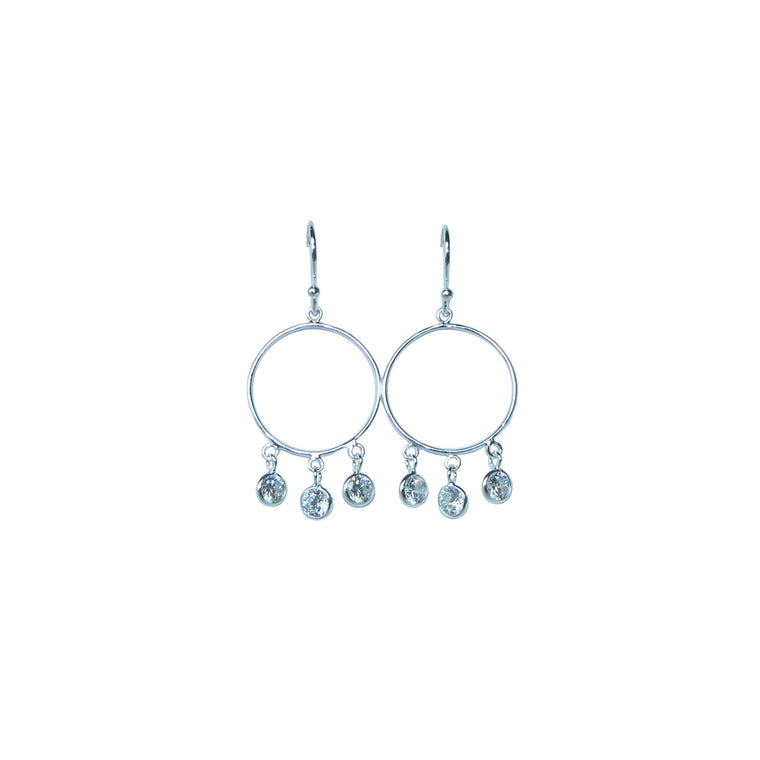 diamond sparkle hoops in silver by Karma Links Jewellery