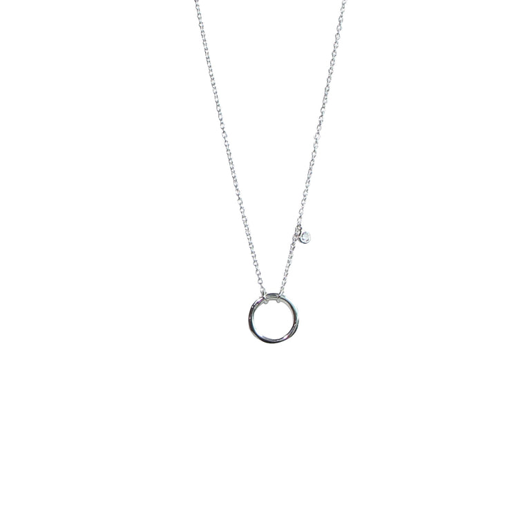 silver sparkling circle of life necklace