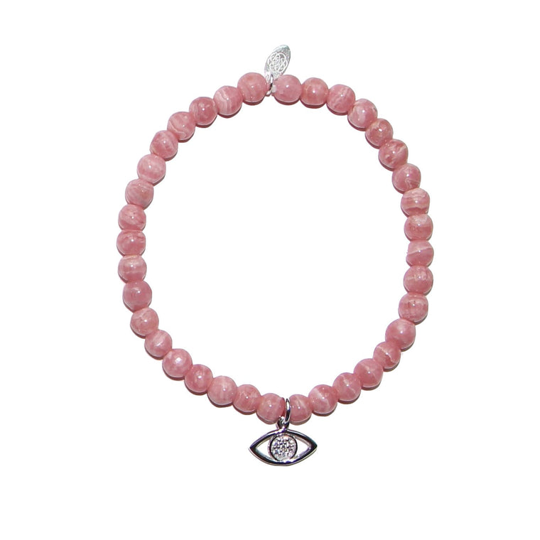 pink evil eye bracelet on rhodochrosite by Karma Links Jewellery