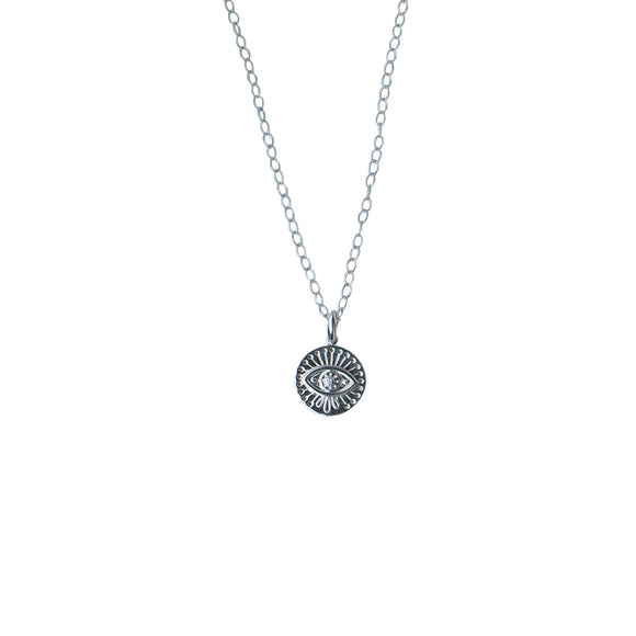 silver evil eye pendant necklace