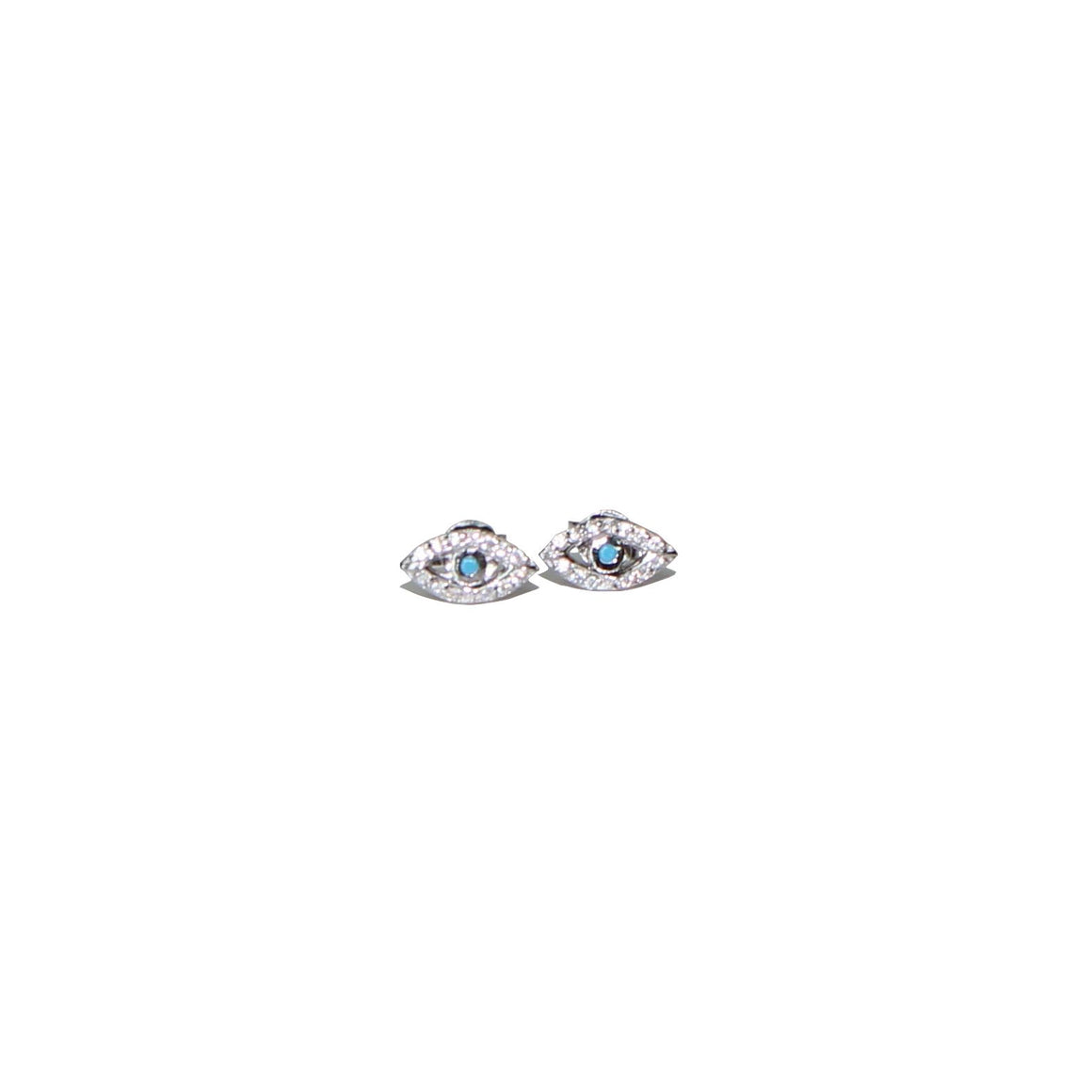 silver evil eye stud earrings I Karma Links Jewellery