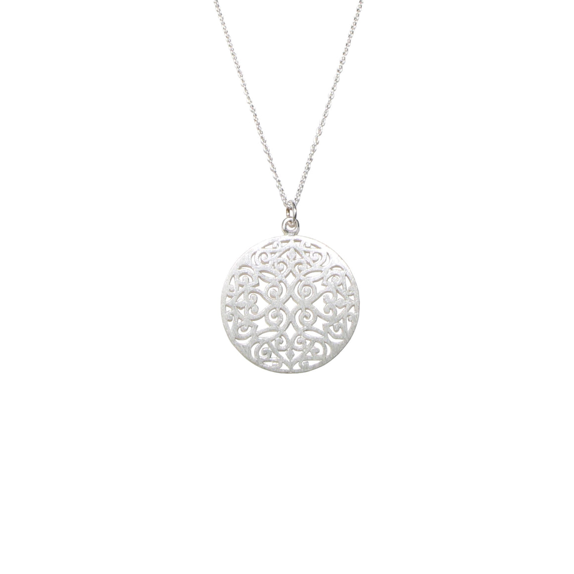long silver filigree necklace