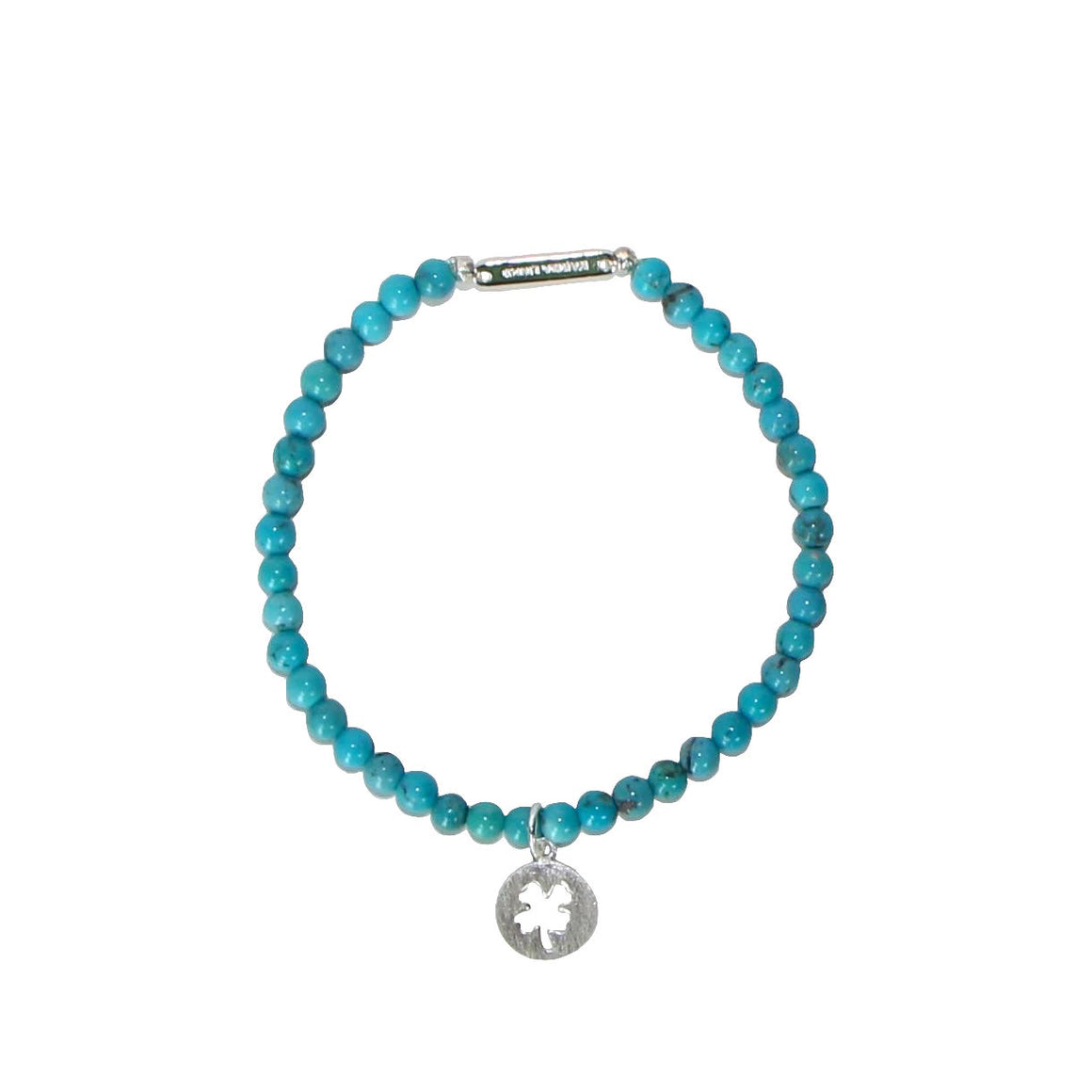 silver four-leaf clover good luck beaded bracelet on Turquoise