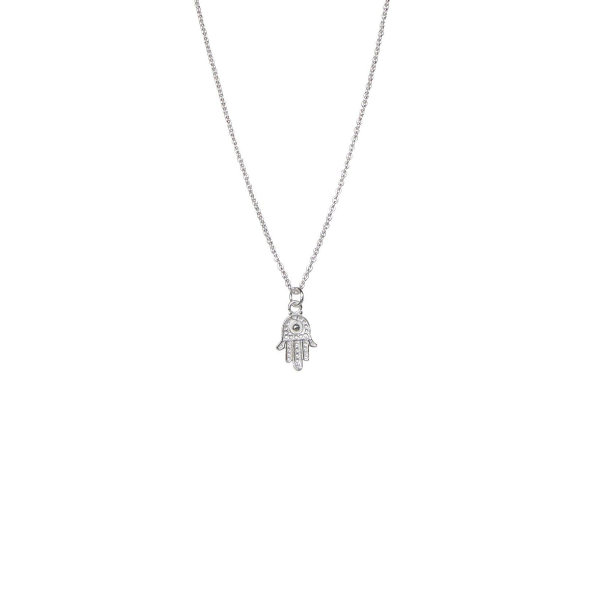 Silver Hamsa hand necklace for protection by Karma Links Jewellery
